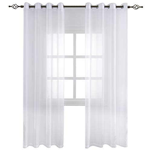FLOWEROOM Transparent Voile Vorhang Gardinen - Einfarbige Durchsichtig Vorhänge Wohnzimmer Ösenvorhang 245x140 cm Weiß 2er Set