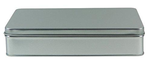 mikken - 1 x Vorratsdose, eckige Metalldose aus Weissblech mit Stülp-Deckel (Farbe: Silber), ideal als Gebäck-, Keks- und Tabakdose verwendbar (20 x 13 x 4,5 cm)