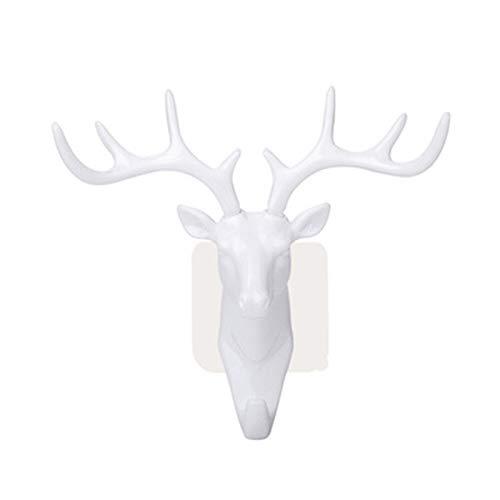 floatofly Vintage Gusseisen Hirsch Geweih Wandhaken, Geweih Haken Hirsch Kopf Schlüsselhalter Kleiderbügel Wohnzimmer Wand Dekorative Ornament Metall Kleiderbügel Weiß
