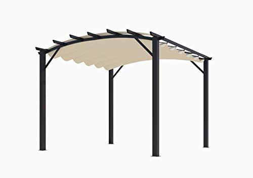 Habrita Pergola Structure Mixte 11,22 m2 - Toile Couleur écru