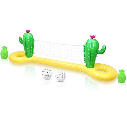 STOBOK Aufblasbarer Volleyball Pool, Basketball Aufblasbare Pool Spielzeug Floating Volleyball Netz für Schwimmbad Basketball Reifen Wassersport Sommerspielzeug für Kinder und Erwachsene