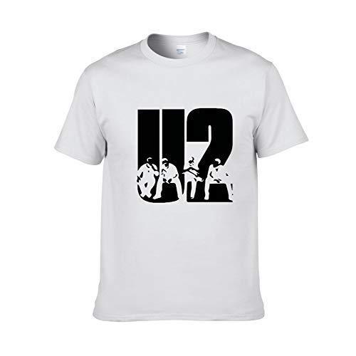 JJZHY Berlin Rock Band U2 Band Sommer Baumwolle Rundhals Loses T-Shirt Unisex 6 Farben,Weiß,M