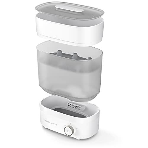 Philips Avent SCF293/00 Elektrischer Dampfsterilisator & Trockner Premium für bis zu 6 Babyflaschen, Sauger & weiteres Zubehör, weiß