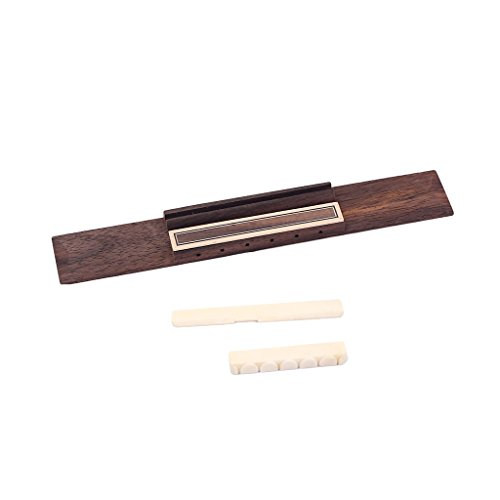 kesoto Palisander Gitarre Bridge + 2 x Buffalo Knochen Sattel Brücke Nut Steg Set für Klassik Gitarren Zubehör