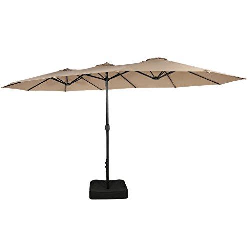 Iwicker 15 Ft Double-Sided Patio Umbrella Outdoor Market Umbrella with Crank