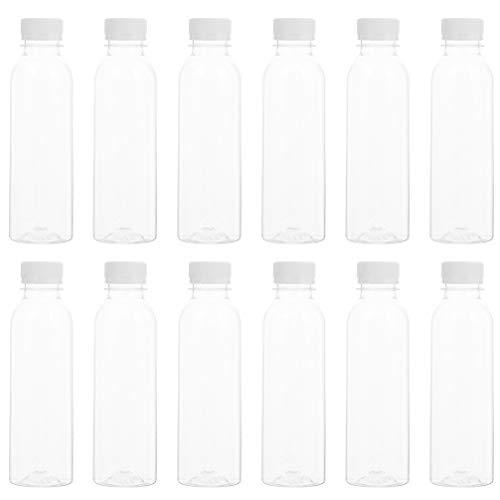 Hemoton 30Pcs 250M Plastiksaftflaschen Transparente Leere Spenderflaschen Breusable Klare Einwegbehälter mit Manipulationssicheren Verschlussdeckeln für Saftmilchjoghurt
