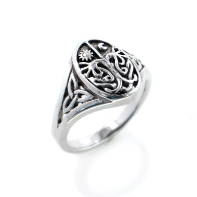 Celtic Trinity Knot Tree of Life with Sun and Moon Sterling Silver Ring Size 9(Sizes 3,4,5,6,7,8,9,10,11,12,13,14,15,16)