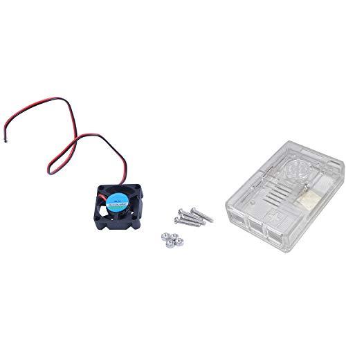 Noblik Active Cooling Fan for Raspberry Pi 3 Model B / 2B / B+ - Black & Abs Protective Case Support Fan (Transparent)