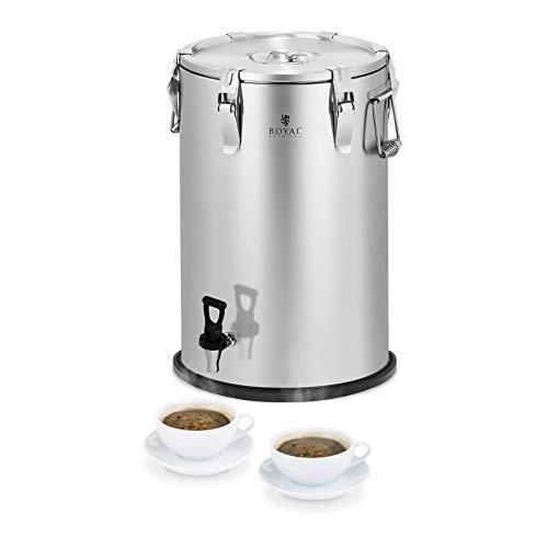 Royal Catering RCTP-35DT Thermobehälter Gastro Transportbehälter für Speisen (35 L, doppelwandig mit Isolierung, 6–8 h Wärmespeicherung, Ablasshahn) Edelstahl