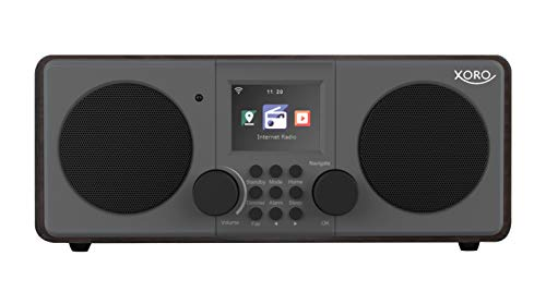 Xoro DAB 600 IR V3 Stereo Internet DAB+/UKW Radio - Internet-Radio mit WLAN, 2 x 5 Watt RMS, USB 2.0, App-Steuerung, Bluetooth, Spotify Connect, AUX, Weckfunktion, Wetterstation, inkl. FB braun/grau