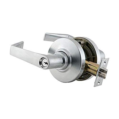 Schlage Commercial AL53PDSAT626 AL Series Grade 2 Cylindrical Lock, Entry Function Turn/Push Button Locking, Saturn Lever Design, Satin Chrome Finish
