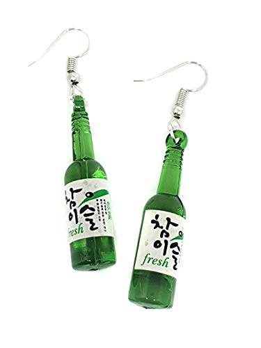 Eclectic Shop Uk Dames Koreaans groen flesje sake drank soju zomer mode paar oorbellen