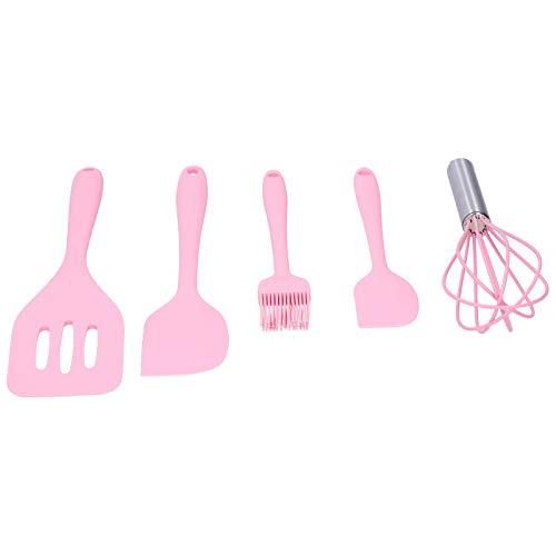Espátula de silicone, batedor de ovos antiaderente de alta qualidade e resistente à sujeira, para assar na cozinha doméstica(Pink five-piece suit)