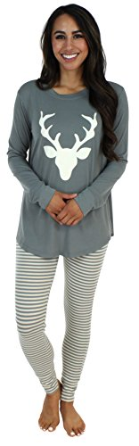 Sleepyheads Women's Sleepwear Knit Longsleeve Top and Leggings Pajamas PJ Set-Deer (SH1140-4043-XS)