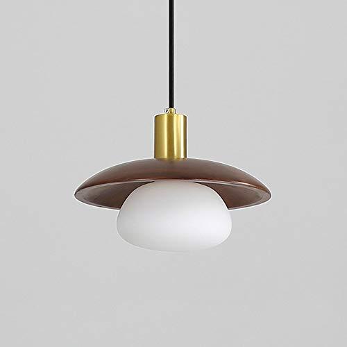 Luz pendiente moderna simple de madera con bola blanca colgante de cristal Pantallas de iluminación, iluminación de suspensión kits de montaje for sala de estar Loft dormitorio del café del re