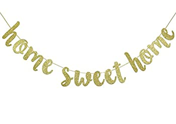 Home Sweet Home Gold Glitter Hanging Sign Banner- Welcome Home Banner Home from War Banner Military Welcome Home Banner Welcome Home Sign