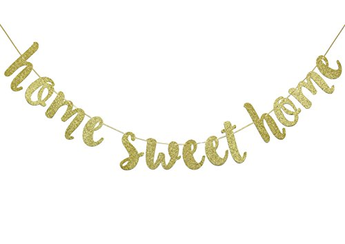 Home Sweet Home Gold Glitter Hanging Sign Banner- Welcome Home Banner, Home from War Banner, Military Welcome Home Banner, Welcome Home Sign