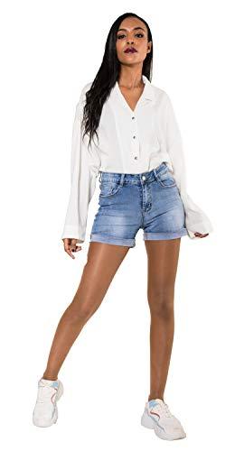 Crazy Age Damen Jeansshorts Basic in Aged-Waschung 5 Pocket Denim Classic Jeans Bermuda-Shorts Kurze Hosen aus Denim für den Damen Denim Kurze Hose mit Hotpants Shorts (38, R576)