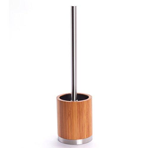 MSV 140353 Bambou Brosse de WC Plastique/Acier Inoxydable Marron/Argent 30 x 20 x 15 cm