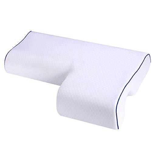 Almohada para parejas, almohada de espuma viscoelástica con rebote lento para dormir, para reposabrazos, soporte cervical para cuello, almohada antipresión, color blanco, lado derecho