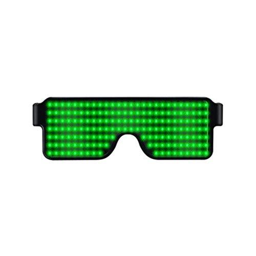 SOWLFE Nuevas Gafas LED de Fiesta Gafas con Brillo Recargables USB para Raves, Festivales, diversión, Fiesta, Deportes, Ropa, EDM, Intermitente - Mostrar Mensajes, animaciones, Dibujos