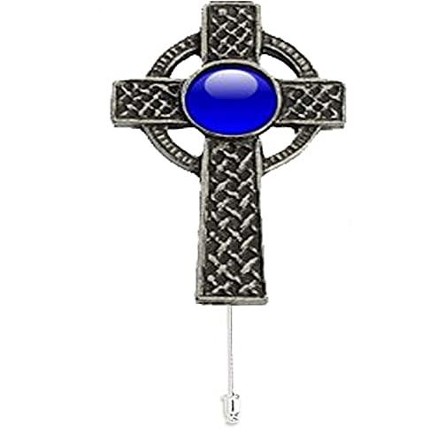 ww11 Celtic entrelazado Cruz azul gema fina peltre Inglés adorno en un lazo pin sombrero bufanda collar abrigo