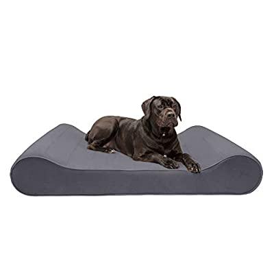 Furhaven Pet Dog Bed - Memory Foam Micro Velvet Ergonomic Luxe Lounger Cradle Mattress Contour Pet Bed w/ Removable Cover for Dogs & Cats, Gray, Giant