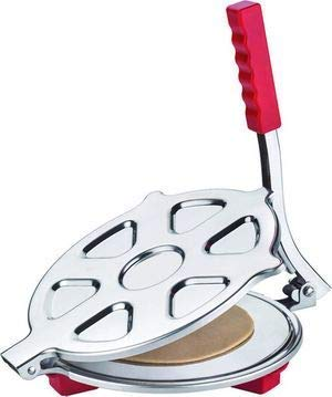 BigBuzz Heavy Quality Stainless Steel Puri Maker Press Machine with Handle, Manual Stainless Steel Roti Press, 6.5 inch Dia. Papad/Khakhra/Chapati Maker (Silver)