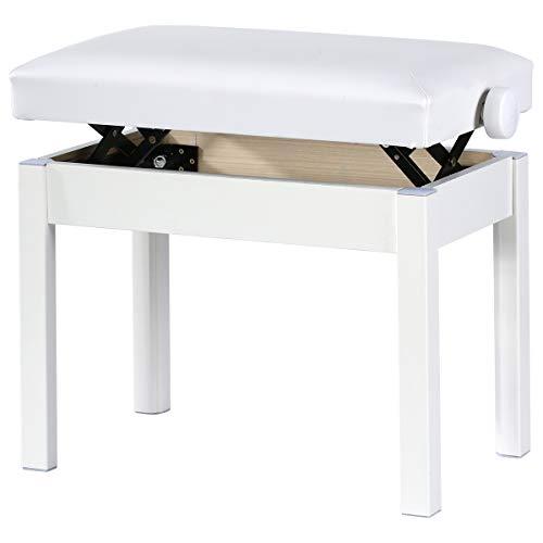 Doubleblack Banco Piano Banqueta Silla Regulable para Teclado Ajustable Altura Cojín de Piel Sintética Asiento Pies Madera Maciza Pies y Marco (Blanco)