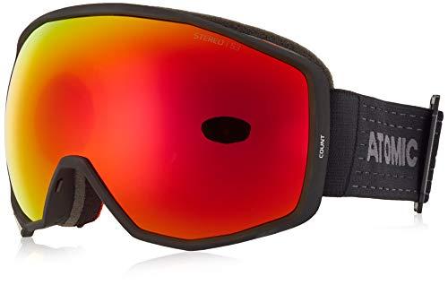 Atomic Unisex All Mountain-Skibrille Count Stereo, für starkes Licht, Medium Fit, Sphärische Doppelscheibe, Kompatibel mit Brille, schwarz/rot, AN5105634