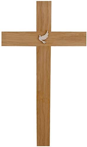 Kaltner Präsente Geschenkidee - Kreuz Wandkreuz Kruzifix aus Eiche Holz 35 cm mit Taube Friedenstaube für Wand