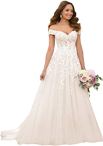 Sweetheart Off Shoulder Wedding Dresses Backless V-Neck Lace Appliques Long Bridal Gowns for Bride