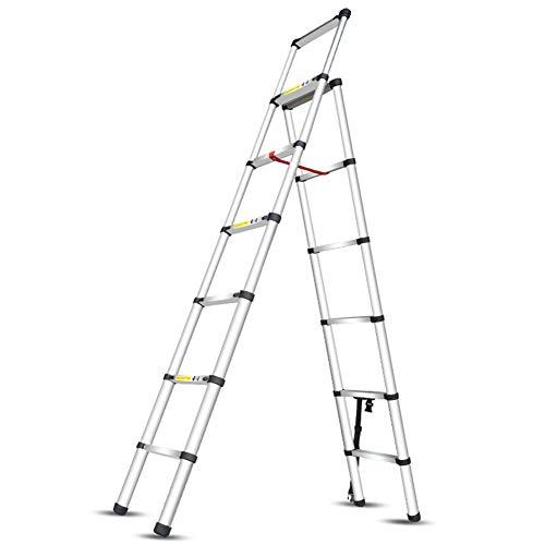 Leiter Teleskophaushaltsaluminiumlegierung Technik Treppe Multifunktions-Eindickung 6-Stufen-Anlegeleiter, Leicht, Last 150kg Stabilität und Sicherheit