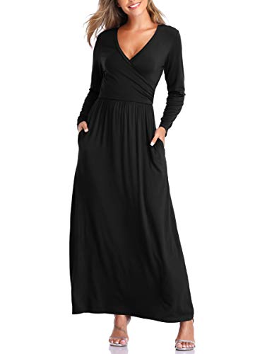 VEPKUL Womens Sexy Cross Wrap V Neck Long Sleeve Plain Casual Long Maxi Dresses with Pockets(Black,L)