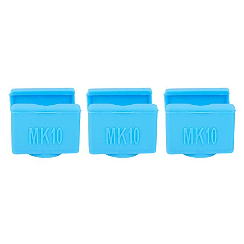 Nrpfell 3Pcs Mk10 Silicone Socks Instead Ceramic Insulation For Wanhao Dupicator D4/I3/ I3 Makerbot 2 Qidi Tech Flashforge Silicone Heater Block Cover