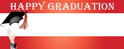 Happy Graduation Academic Hat Design Small Personalised Vinyl PVC Banner - 4ft x 2ft