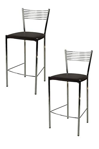 Tommychairs - Set 2 sgabelli alti modello Elegance per cucina e bar, struttura in acciaio cromato e seduta imbottita e rivestita in pelle artificiale colore moka