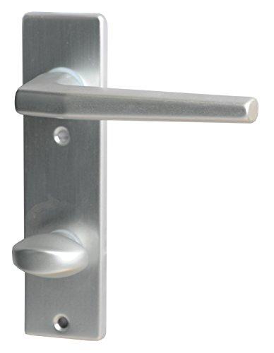 Alpertec 40040650K1 Aluminium FLORENCE-Kurzschild silber eloxiert für Badtüren WC 78 mm Drückergarnitur Türdrücker Türbeschläge Neu, für Badezimmertüren