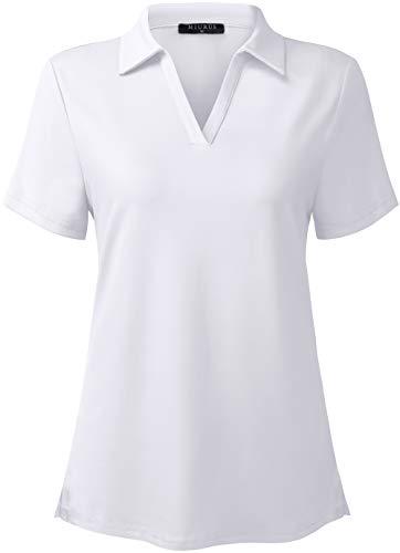 KORALHY Sun Protection Polo Shirts,UPF50+ Short Sleeve V-Neck Polo Shirts for Women Outdoor Sports Shirts Worikout Polo Shirts White XX-Large