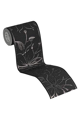awallo selbstklebende Bordüre floral jung 5,00 m x 0,13 m metallic schwarz Made in Germany 346612 3466-12