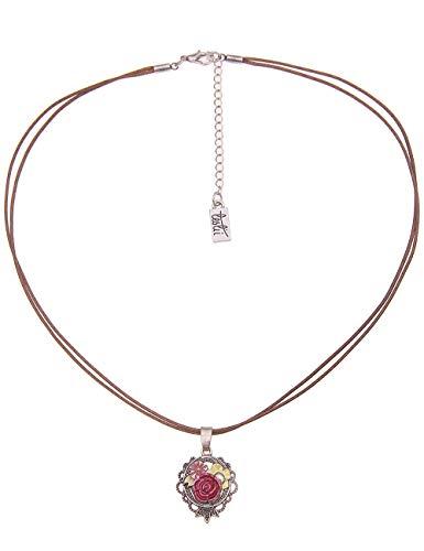 Leslii Pinke Damenkette Blumen-Kette Filigran Dirndl-Kette Oktoberfest Textil-Band Kurze Halskette Modeschmuck Braun Pink Grün