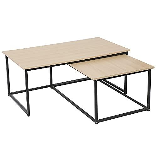 RLSF Juego de 2 mesas de Centro, Mesa de Centro Rectangular única, Mesa de Centro anidada, mesas de Centro para Sala de Estar, mesas de Centro de Escritorio de Troncos