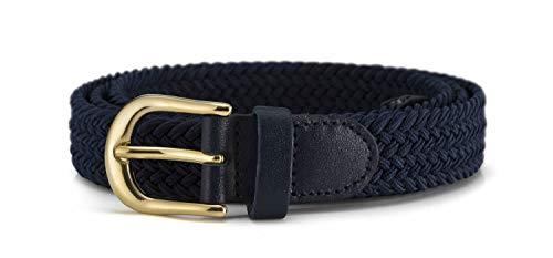 Streeze Cinturón Mujer Damas de Tela Elástica Entretejida. 5 Tamaños. Anchura de 25mm y Hebilla Dorada (Azul Marino, L)