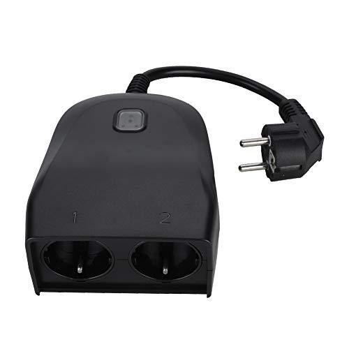Intelligente stekker, wifi-stopcontact met 2 stopcontacten, draadloze afstandsbediening/timer via smartphone/IP44 weerbestendig, compatibel met Alexa, spraakassistent (EU-stekker)