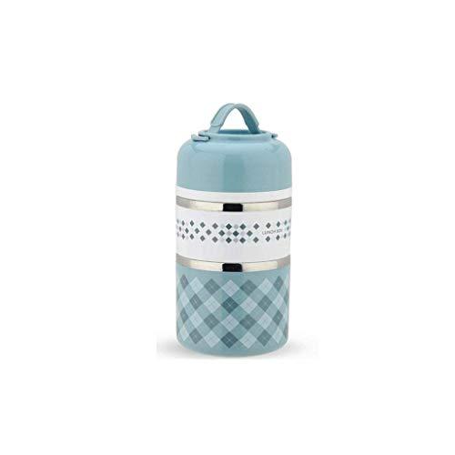 LYHY Fiambrera de Aislamiento: Barril Aislado Redondo portátil de Acero Inoxidable Doble, Fiambrera Fresca Anti escaldado y a Prueba de Fugas (Color: Azul)