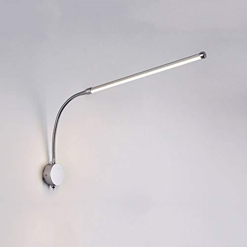 HHKQ LED Luz de Lectura Pared Flexible Cuello de Cisne, 3000K-6000K 9W Lámpara de Pared con Interruptor Plata Lámpara de Cabecera de Pared para Dormitorio