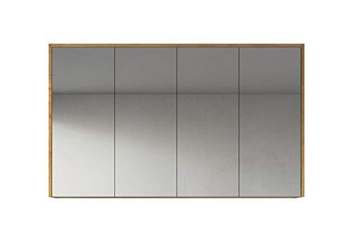 Badplaats B.V. Spiegelschrank Cuba 120cm F. Eiche - Schrank Spiegelschrank Spiegel Badezimmer Badmöbel Set Hängeschrank