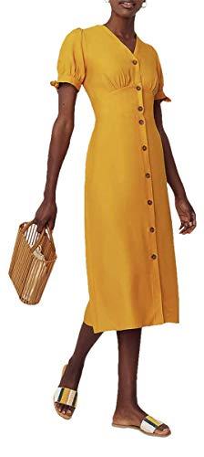Ex Oasis Damen Midi Geknöpft Kleid, Leuchtend Gelb - Leuchtend Gelb, 10