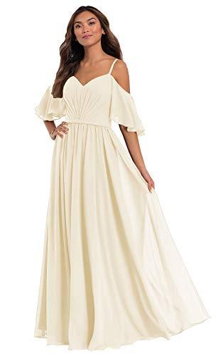 Ufashion Women's Off The Shoulder A Line Bridesmaid Dresses Ruffles Chiffon Wedding Guest Dress Size12 Champagne
