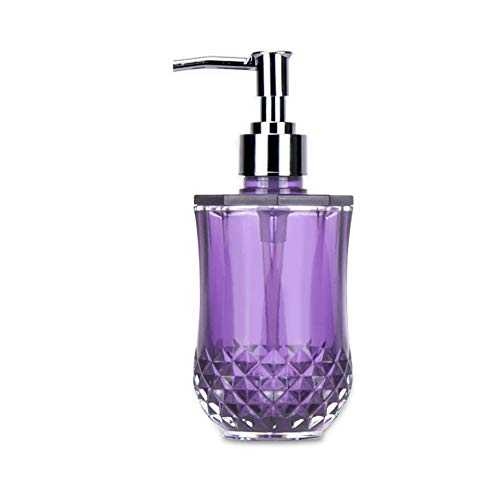 Fivtyily Simple Style Soap Dispenser Bottle Modern Design Acrylic Soap Pump for Kitchen or Bathroom Countertops (Purple)